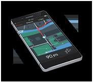 Smartphone mit Screen auf dem die Fahrrad App zu sehen ist.